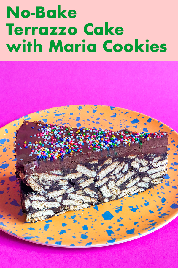 This no-bake cake is a simple combination of crumbled cookies, an easy chocolate sauce, and chocolate ganache. It sets overnight in the fridge and when you cut it, the cookies and chocolate make a beautiful terrazzo pattern.
